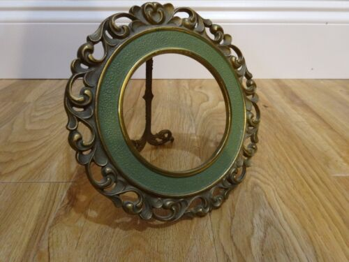 """Antique NB & IW Victorian 4"""" Photo Green Paint Solid Bronze PICTURE FRAME 6 3/4"""""""