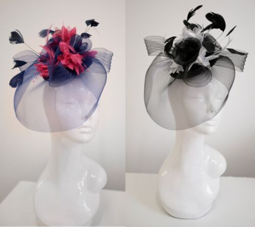 Bespoke Feather Hair Fascinator Hat Veil Headband Clip Wedding Ascot Races  <br/> Send a message if the you don't see the colour you want