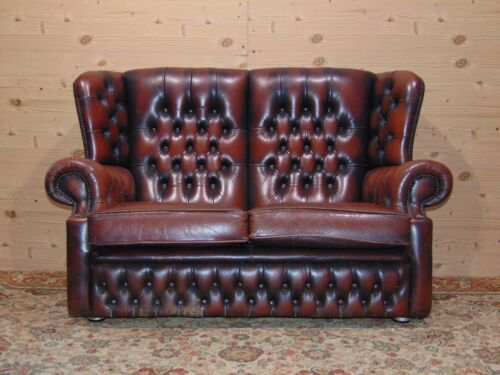 Divano Chesterfield 2 Posti Originale Inglese in Pelle Marrone Antico