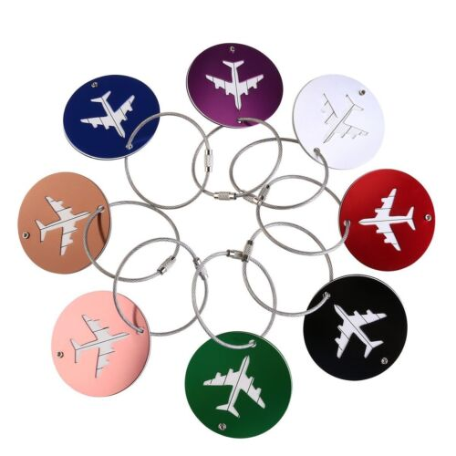 Set Of 2 Round  Metal Luggage Tags Suitcase Bag Labels-plane