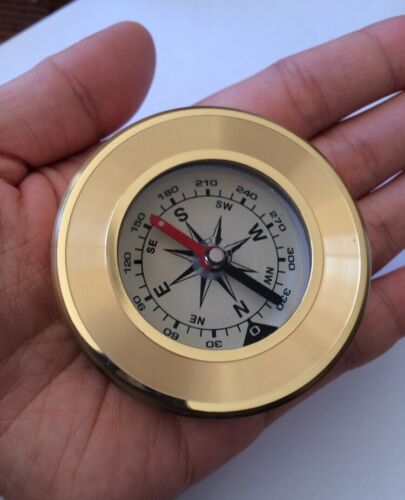 NEW Pocket Compass Brass Gold Travel Camping Hiking Navigation Small FastPost