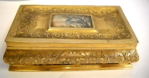 Antiques Gilt Sterling Silver Jewelry Box 833 Portugal hand painted