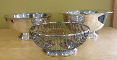 3 Vintage Silverplate Bowls Gorham and Poole 2 Revere Style