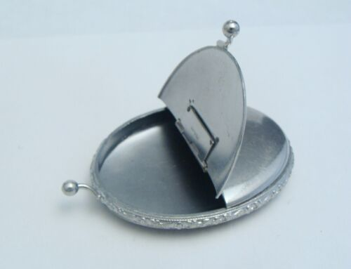 ANTIQUE 925 STERLING SILVER LADIES BOX OF SECRETS SMOOTH OVAL SECURE EMBOSSED
