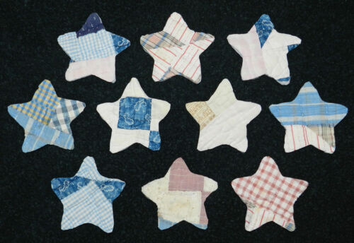 10 ROUNDED PRIMITIVE ANTIQUE CUTTER QUILT STARS! BLUE,PINK, ETC Scrapbooking!