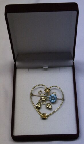 antique gold filled heart floral brooch pin with big light blue stone