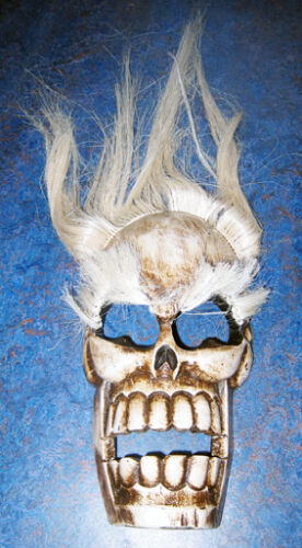 """Large Wooden skull wall mask, white hair/eyebrows, carved in Bali, new, 13"""" x 8"""""""