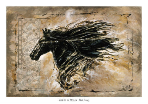 Black Beauty Art by Marta Wiley Black Horse Print 36x24