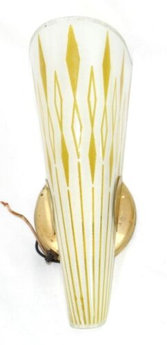 "Vintage 12"" Mid Century Modern Atomic Wall Sconce Lamp Light Slip Shade 1 / 2"