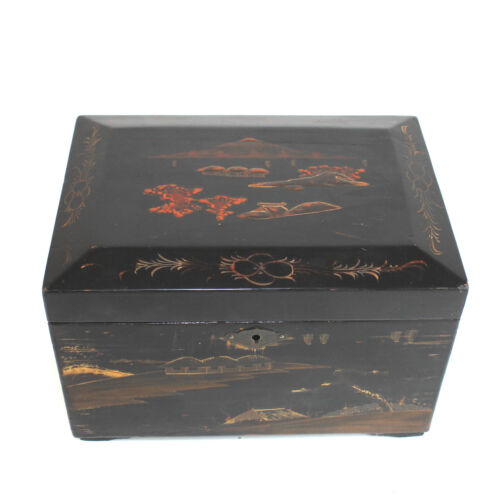 Antique Japanese Lacquer Tea Caddy with Two inserts