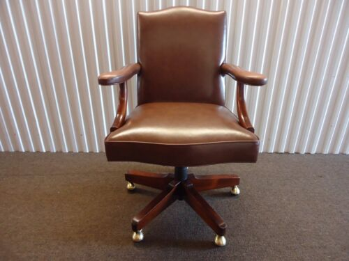 Vintage Kittinger Colonial Williamsburg Office Desk Chair in Brown Leather
