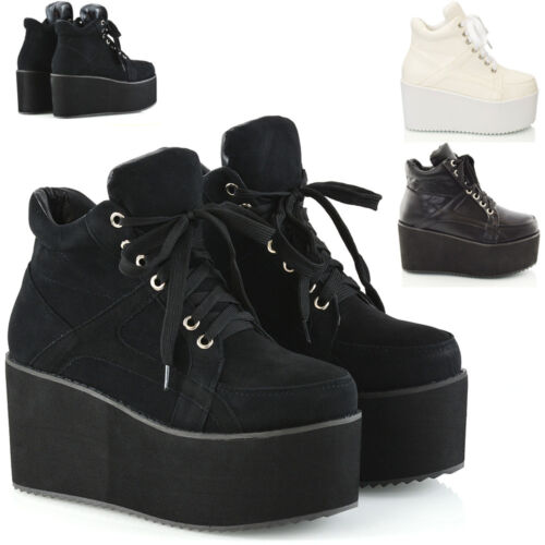 Ladies Chunky Cleated Sole Womens Platform Lace Up Goth Punk Ankle Boots Size3-8