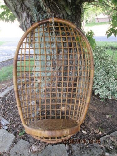 "Vintage Rattan Wicker Mid Century Modern Egg Swing Chair 46"" Tall"