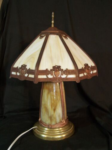 Antique Arts & Crafts / Art Nouveau Slag Glass 8 Panel Table Lamp Lighted Base