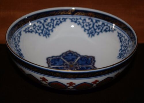 "JAPANESE GOLD IMARI HAND PAINTED PORCELAIN BOWL COBALT BLUE AND GOLD TRIM 6""D"