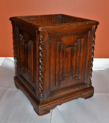 ANTIQUE CARVED OAK PLANTER OR  UMBERELLA STAND WITH BARLEY TWIST COLUMNS.