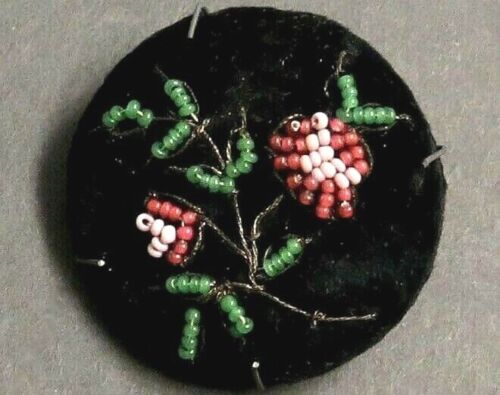 OLD Embroidery on Black Velvet Fabric Button - Pink Beaded Roses & Green Leaves