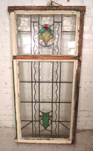 Large Vintage Stained Glass Window Panel (08086)NS