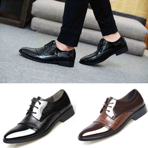 New Business Mens Dress Formal Oxfords Leather Shoes Flat Lace Up Casual Loafers