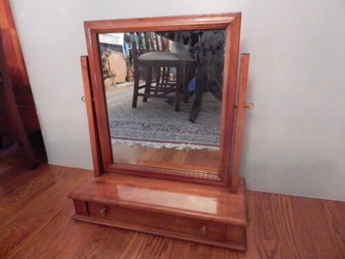 Mid Century Mission Style Maple Table Top Dressing/Shaving Mirror With Drawer