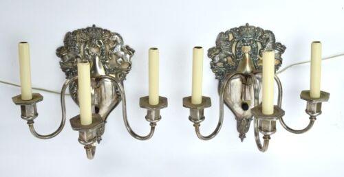 Pair Antique English Regency Silverplate Candlestick Wall Sconces