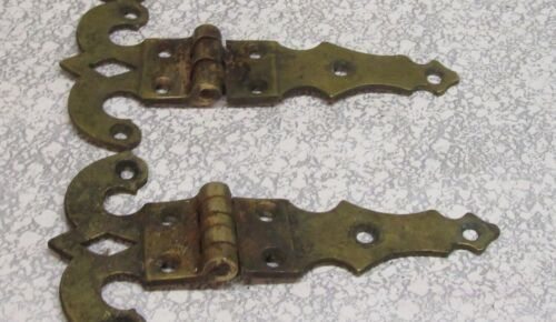 "2 Vintage Heavy Duty Solid Brass 5 "" Decorative Hinges"