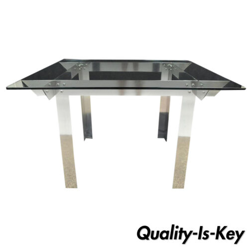 """Mid Century Modern Aluminum Metal & Glass Square Dining Table Ginsu Knife 47"""""""