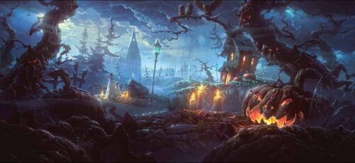 Pumpkin Ghost Halloween Party Art Wall Home Decor Oil Painting Printed on Canvas