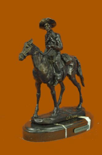 OLD WEST COWBOY WITH HORSE BRONZE SCULPTURE WESTERN ART Thomas FIGURINE DECOR
