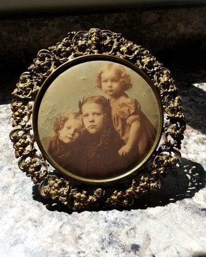 ANTIQUE Ornate Reticulated Art Nouveau Picture Frame Easel Children Photo