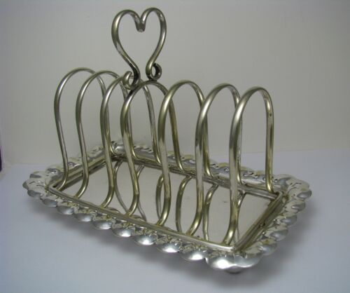 SILVER PLATED TOAST RACK 6-SLICE TOAST UNDERPLATE J&R Griffin Birmingham ca1900s