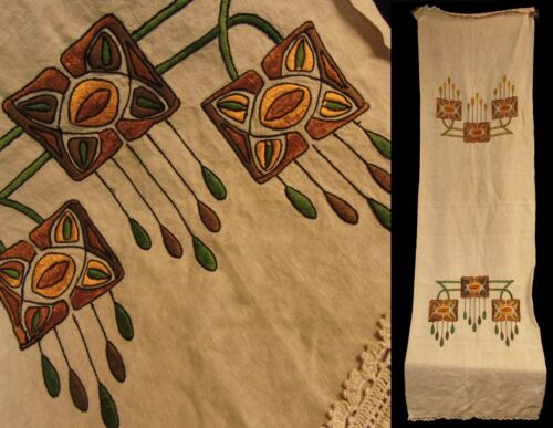 Antique  Arts/Crafts Mission Stickley Era Oatmeal Linen Embroidered Runner Scarf