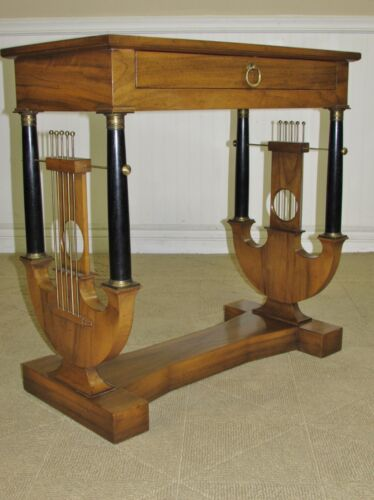 VINTAGE BAKER LYRE BASE HALL CONSOLE,  REGENCY, EMPIRE STYLE TABLE