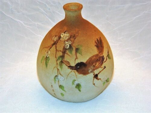 ~ Old Diminuitive ASIAN HANDWORK Pottery VASE Handpainted BIRD, SIGNED ~