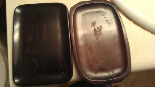 2X Antique Chinese hard quality wooden ware trays Karaki