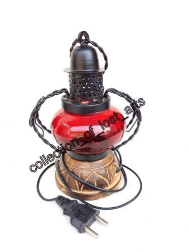 Vintage Old Antique Style Red Glass Iron & Wood Electric Lantern Look Night Lamp