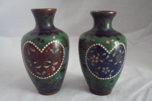 "Enamel on Copper Antique Cloisonne 2 Vases Japan 3 3/4"" Heart Floral 1890 Mirror"