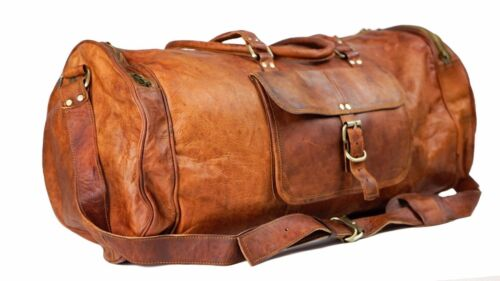 New Men's distressed Leather Retro vintage Large Round duffel travel gym bag