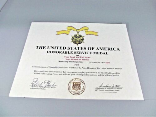 THE HONORABLE SERVICE REPLACEMENT CERTIFICATE Army Navy Air Force MarinesMedals, Pins & Ribbons - 104024