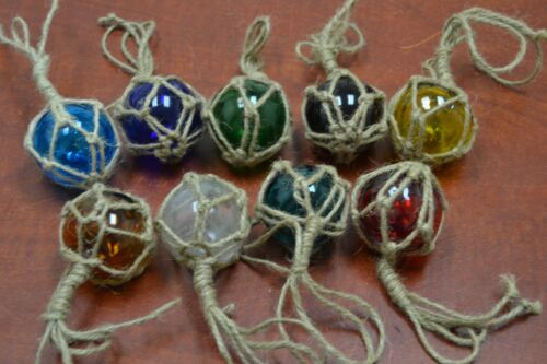 """4 PCS REPRODUCTION GLASS FLOAT BALL WITH FISHING NET 2"""" **PICK YOUR COLORS**"""