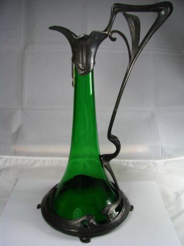 ART NOUVEAU PEWTER DECANTER CLARET DECORATIVE GREEN GLASS by WMF Germany ca1900s