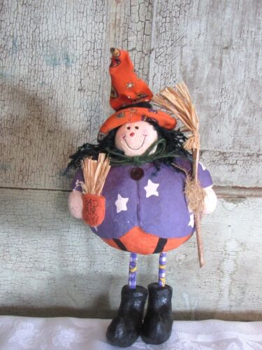 """Sweet Grubby Primitive Halloween Bad Hair Day Paper Mache Witch Figure Doll 11"""""""