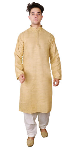 Men Indian Raw Silk Kurta Shalwar Kameez pajama smart formal wear sherwani 1809