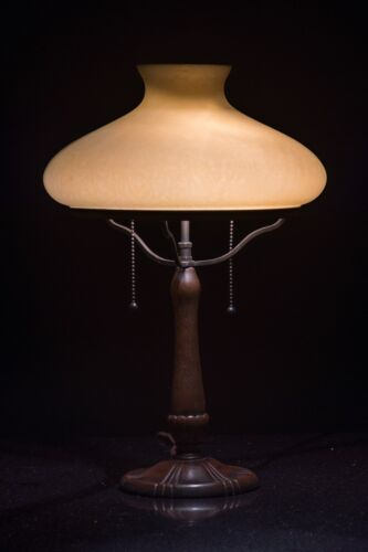 Signed Handel Chipped-Ice Table Lamp, Amber Etruscan Shade, Excellent