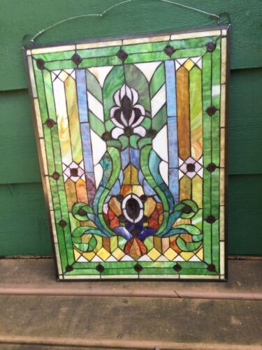 Multi-Color Stained Glass Window Panel In Metal Frame with Hanger