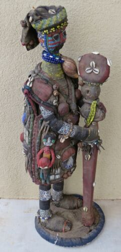 "Rare, Museum Quality, Vintage Yoruba Hunter Figure/40"" H/Beads, Shells, Mirrors"