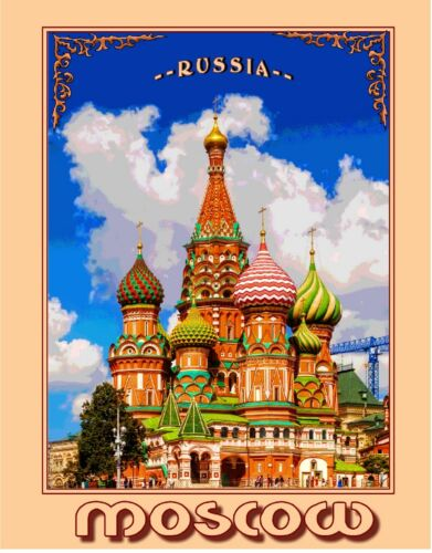 Moscow Russia St. Saint Basil's Cathedral Russian Travel Advertisement Poster