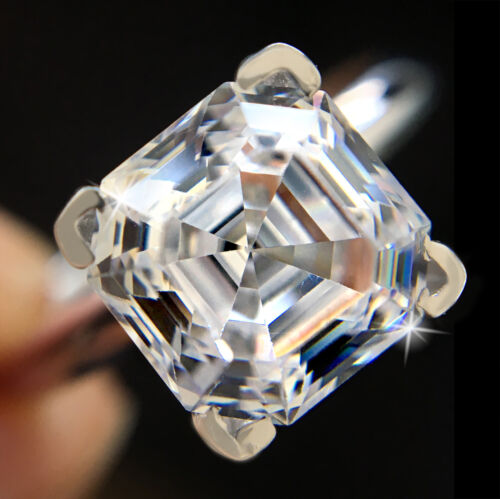 2.5 ct Brilliant Asscher Ring Top Russian Quality CZ Sterling Silver Size 8