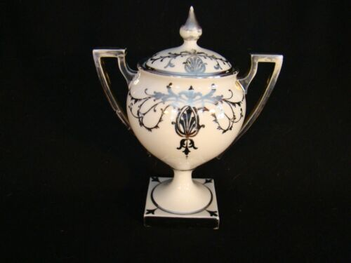 Willets American Belleek Silver Overlay Sugar Bowl & Cover c.1880's