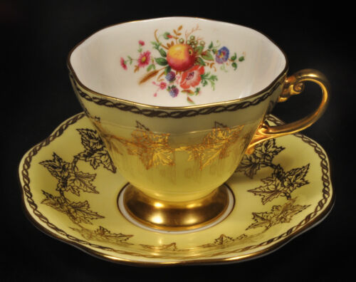 Foley Bone China Tea Cup & Saucer Yellow w/ Beautiful Gold Trim & Roses Flowers!
